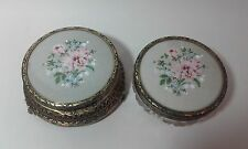 Antique PETIT POINT Powder Bowls x 2 with Lace floral Embroidery ~ Roses
