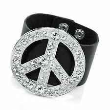 Gorgeous  silver tone - diamante & black faux leather peace sign cuff bracelet