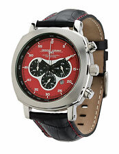 Jorg Gray JG3520 Men's Chronograph Red Dial Black Leather Strap Watch