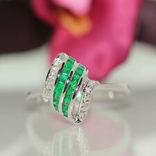 Designer 18k White gold Natural Colombian Emerald & VS-1 Diamond ring .50ctw