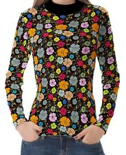 Black Floral Pattern Women High Neck Turtleneck Tops Pullover Shirts