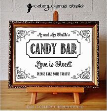 PERSONALISED Wedding Sign A4 VINTAGE Style Print Poster - CANDY BAR WHITE