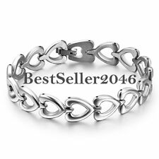 Stainless Steel Promise of Love Heart Link Chain Women Cuff Bangle Bracelet 7.8""