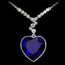 Anhänger Titanic Herz des Ozean Kristall Collier Halskette Liebe blau Strass
