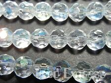50 Pc 6mm Clear AB Crystal Glass Round Faceted Beads Wholesale Lot