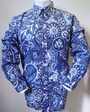 Paul Smith mens floral casual organic cotton shirt size XL blue/white