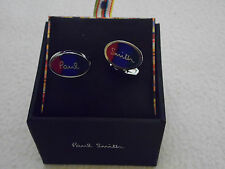PAUL SMITH SIGNATURE OVAL ENAMEL CUFFLINKS WITH BLURRED STRIPE(BRAND NEW IN BOX)