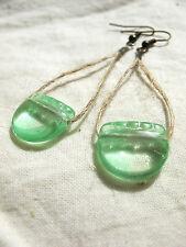 Ohrringe bronze Glasperlen flaschengrün