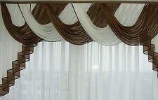 Querbehang, Deko-Gardine  braun / weiss 2,50 m breit