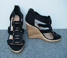 New Look Black Faux Suede Wedge Sandals with Decorative Buckles Size 6/39