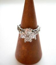 "Heart Shaped ""FLOWER"" Rhinestone Ring Open Work Band Platinum Plated Size 5.25"