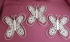 SET OF 3 METAL  BUTTERFLY'S*  WALL ART * CREAM ANTIQUE/SHABBY EFFECT*NEW