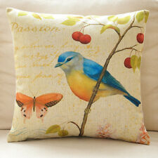 """Cushion Cover Square Decorative Pillow Case Bird&Yellow Butterfly 18"""""""