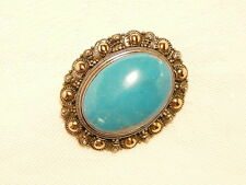 """TURQUOISE BROOCH , 3.7 X 3 CM, 925 STERLING SILVER / 14K GOLD """"NEW"""" AUZ SELLER"""