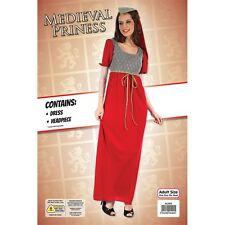 Red Ladies Medieval Princess Costume - Adult Womens Halloween Fancy Dress Outfit