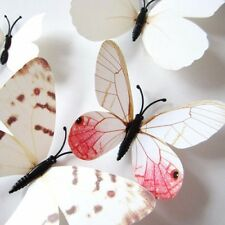 UK White 3D Butterfly DIY Wall Stickers Art Decal Home Room Decorations Decor G1