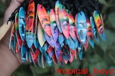 10 Airbrushed Surfboard Dolphin Hawaii Wood Cotton Necklaces Wholesale Lot