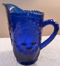 Vintage Westmoreland cobalt glass sculptured cherries pitcher