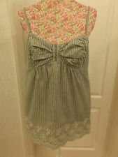 BNWOT NEW WITHOUT TAGS LIGHT GREEN WITH BLACK WHITE THIN STRIPES TOP SIZE 14