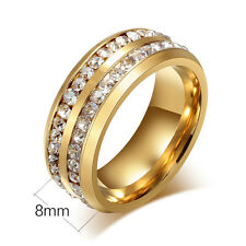 Gold Size 11th Luxury Unisex CZ Stainless Steel Ring Men/Women's Wedding Band