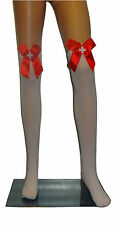 Womens White Red Nurse Fancy Dress Costume Outfit Over The Knee Stockings O/S