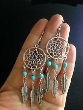 Earrings Dream Catcher Turquoise Silver Hippie Boho Tribal Belly Dance Gypsy