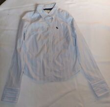 """LADIES VINTAGE LARGE ABERCROMBIE & FITCH LT BLUE PINK STRIPED SHIRT CHEST 38"""""""