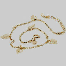 10K Yellow Gold Filled GF Adjustable Hollow Leaf Anklet, 23 + 5cm Long
