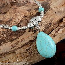 Neu Boho Halskette mit Tropfen Türkis Anhänger gebogen Tube Silberkette 47cm