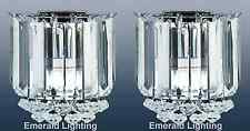 PAIR OF CLARENCE 2 BULB WALL LIGHT POLISHED CHROME CRYSTAL CLEAR PRISMS