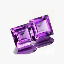 A PAIR OF 5mm SQUARE-FACET LIGHT-PURPLE NATURAL BRAZILIAN AMETHYST GEMSTONES