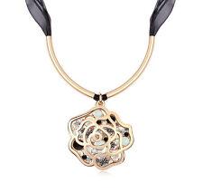 18K Gold GP Swarovski Crystal Elements Black Rose necklace 11134