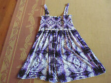 LADIES PURPLE SLEEVELESS ELASTICATED SMOCKED DRESS BY CROSSROADS - SIZE S- 8/10