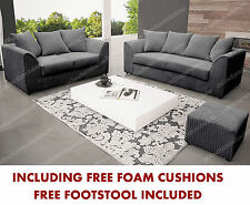 DYLAN-CHIACAGO SOFA 3+2 SEATER GREY JUMBO CORD ALL OVER+FREE STOOL ALL INCLUDED