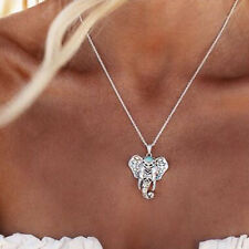 Vintage Women Turquoise Silver Elephant Charm Pendant Choker Necklace Jewelry