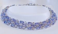 GENUINE! 11.88cts Tanzanite Tennis Style Bracelet in Solid Sterling Silver 925!