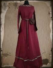 Medieval dress drapery canvas cotton burgundy 3227 Garb long