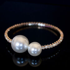 Beautiful Fashion 18K Rose Gold Plated Pearl Open Bangle With SWAROVSKI Crystal