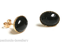 9ct Gold Black Onyx Stud earrings Gift Boxed Made in UK