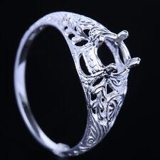6mm Round Silver 925 Engagement Wedding Semi Mount Filigree Engrave Ring Setting