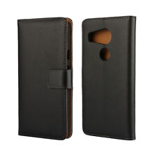 For Google Nexus 5X Black Genuine Leather Business Wallet Flip Case Cover Stand