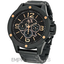 *NEW* MENS ARMANI EXCHANGE STREET BLACK ROSE GOLD WATCH - AX1513 - RRP £229.00