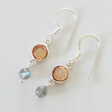 India 925 Sterling Silver Earring 34MM Cubic Zircon Labradorite  Jewellery-11777