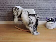 AMAZING ICELANDIC SHEEPSKIN RUG, SINGLE, WHITE & BLACK colour, dyed, 462