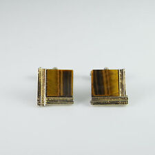 Tigers Eye Sterling Silver Gold Plated Cuff Links Cufflinks Mens 925 Geometric