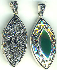"""925 Sterling Silver Green Agate & Marcasite Reversible Double Side Locket 1.3/4"""""""