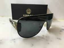 New Genuine VERSACE VE2166 1252/87 Pale Gold Grey Shield Sunglasses mens womens