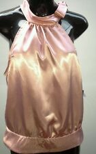 MONICA Size 10 Baby Pink Satin Halter Neck Tie Evening Club Wear NWT $79.95