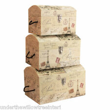 SET OF THREE PARIS DOMED EIFFEL TOWER  STORAGE BOXES TRUNKS