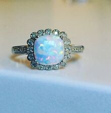 Super Genuine Diamond Halo Ring, Flashy Opal Solid Sterling Silver 925 Bargain